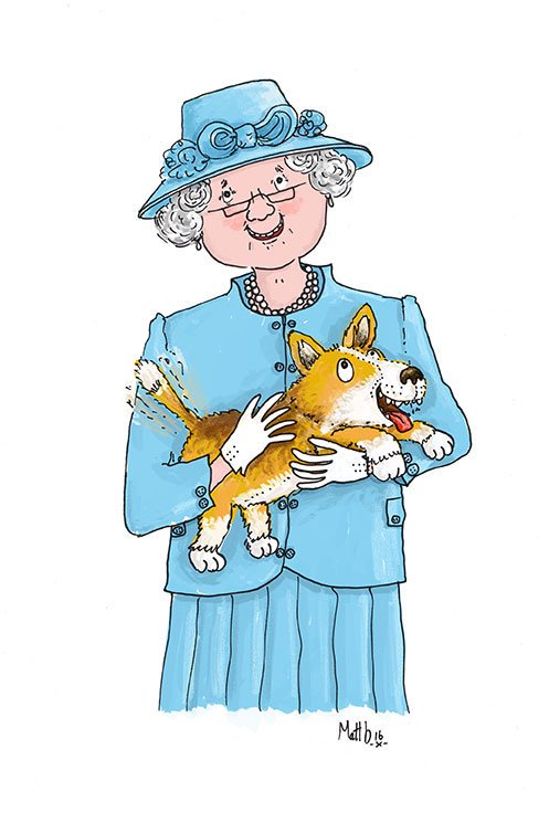 Children's Illustration Queen and Corgi
