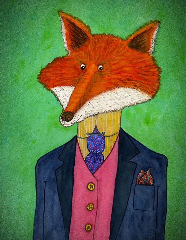 Handsome Fox Print A4