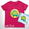 Kids dinosaur t-shirt organic - pink