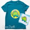 Kids dinosaur t-shirt organic - ocean